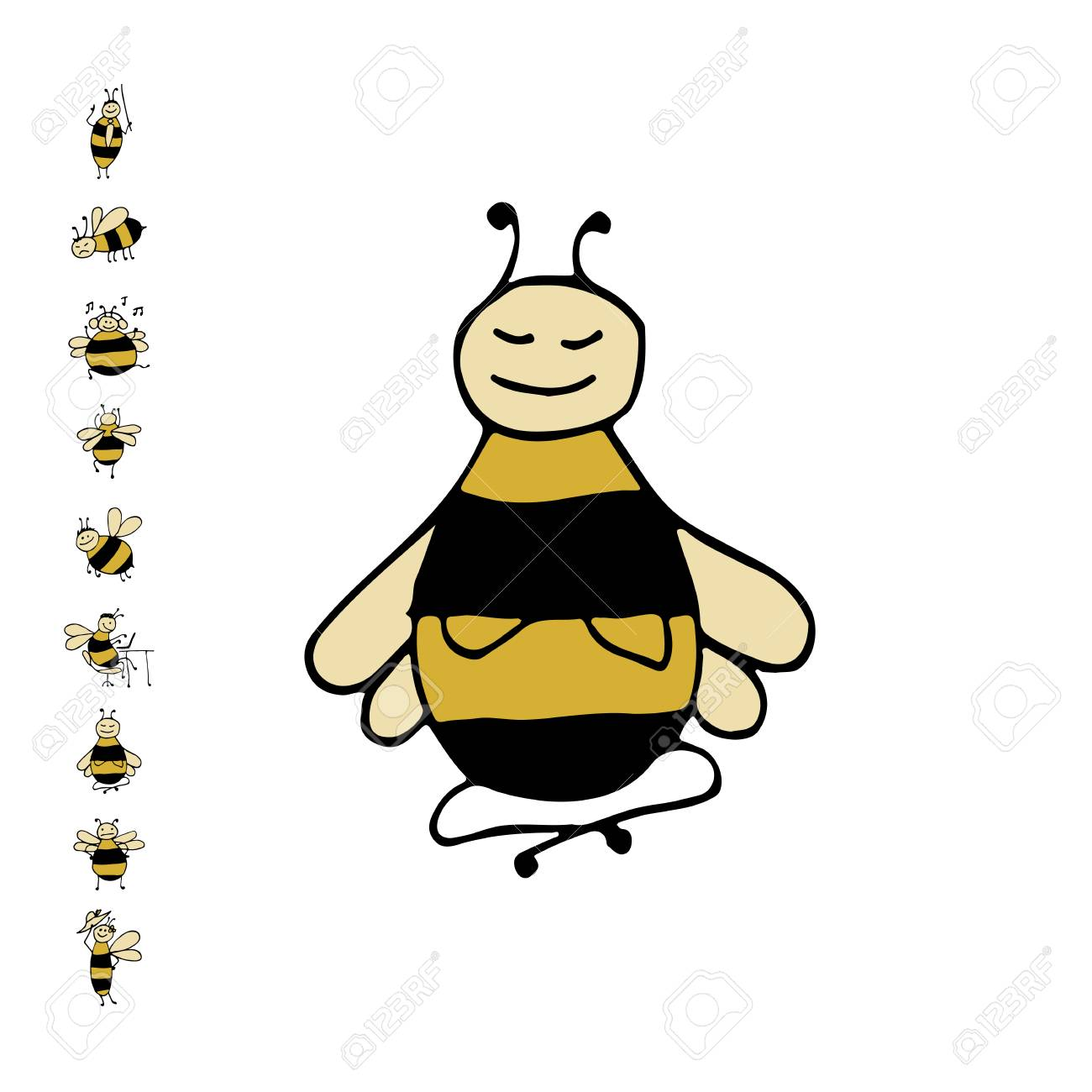 Funny Bee Yoga Sketch For Your Design Royalty Free Cliparts