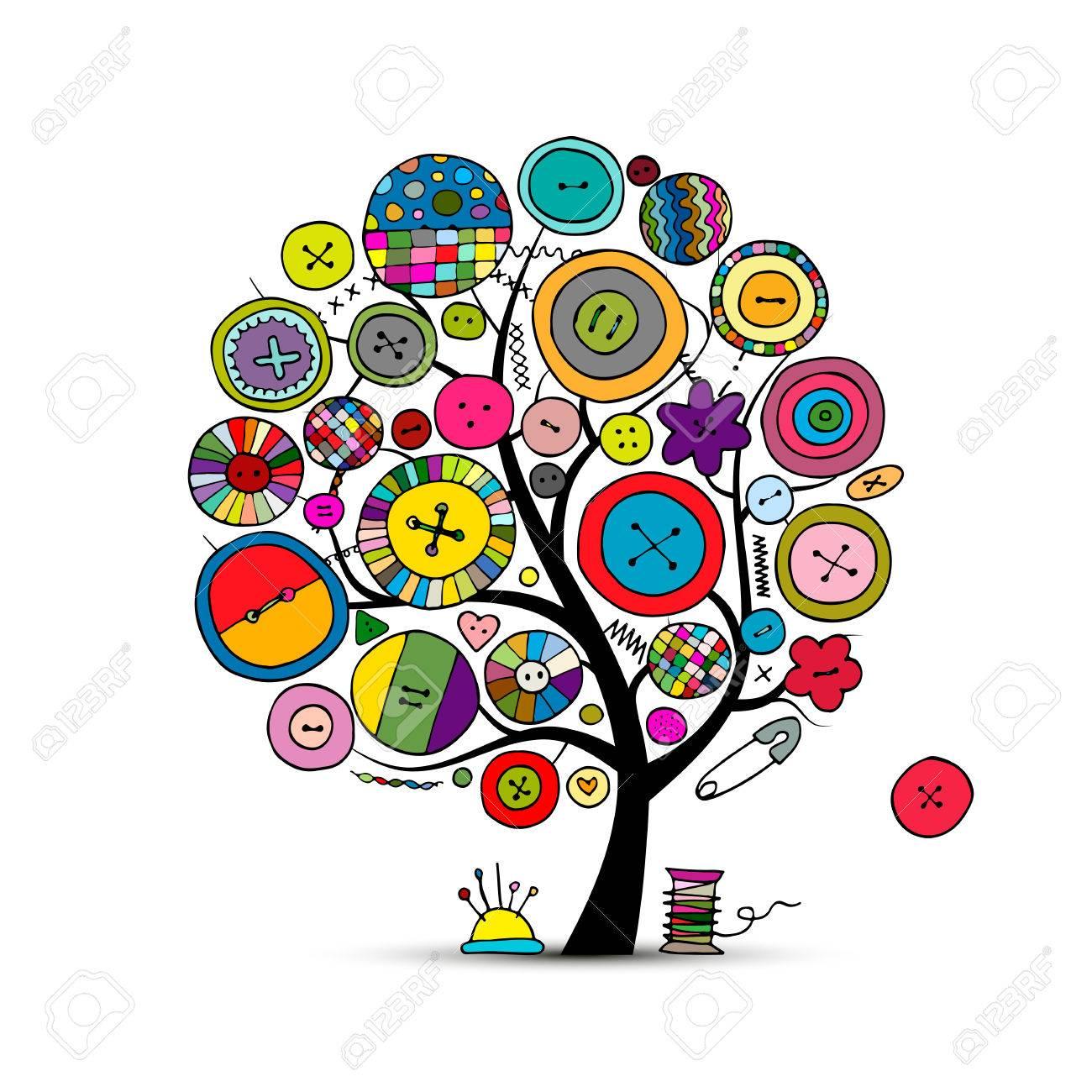 Nähen Handwerk, Kunst Baum. Skizze Für Ihr Design Lizenzfrei ...