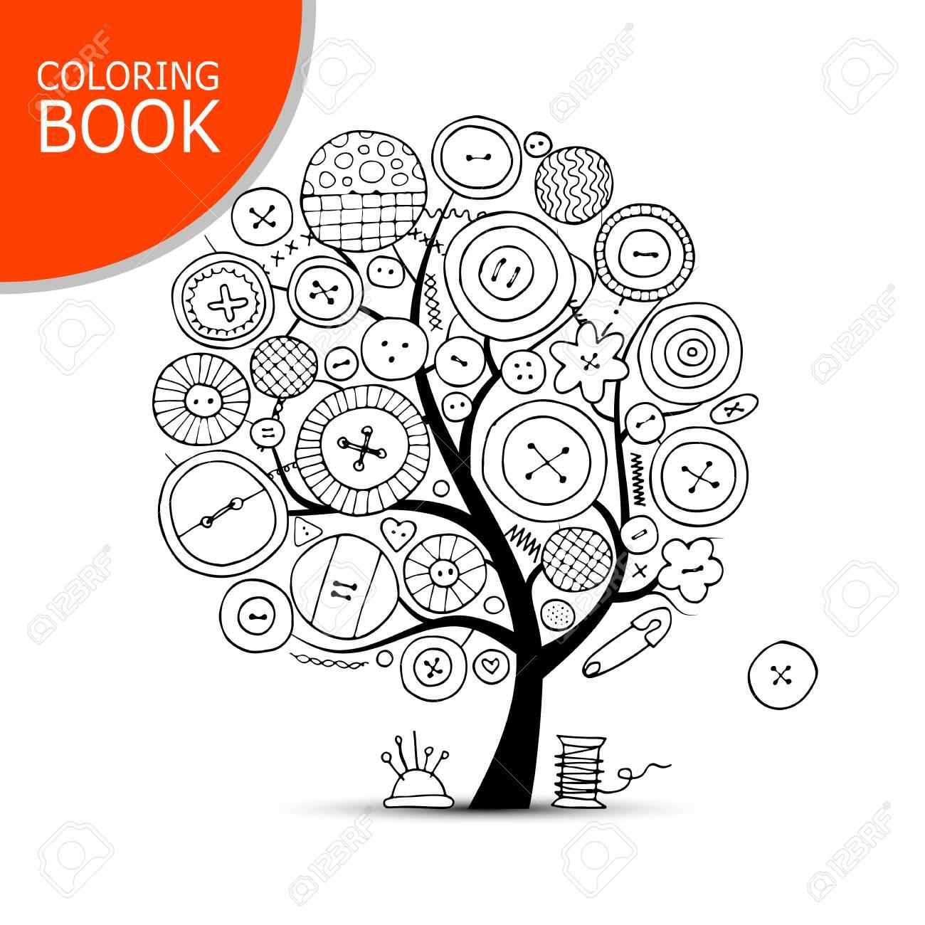 Coser Artesanías árbol De Arte Página Para Tu Libro Para Colorear