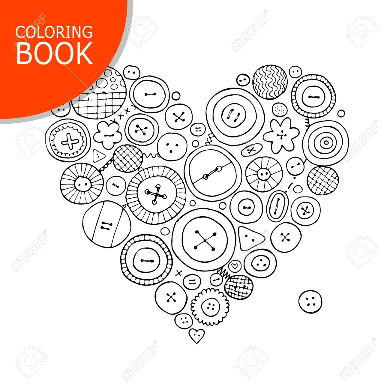 Colección De Botones, Forma De Corazón. Página Para Tu Libro Para ...