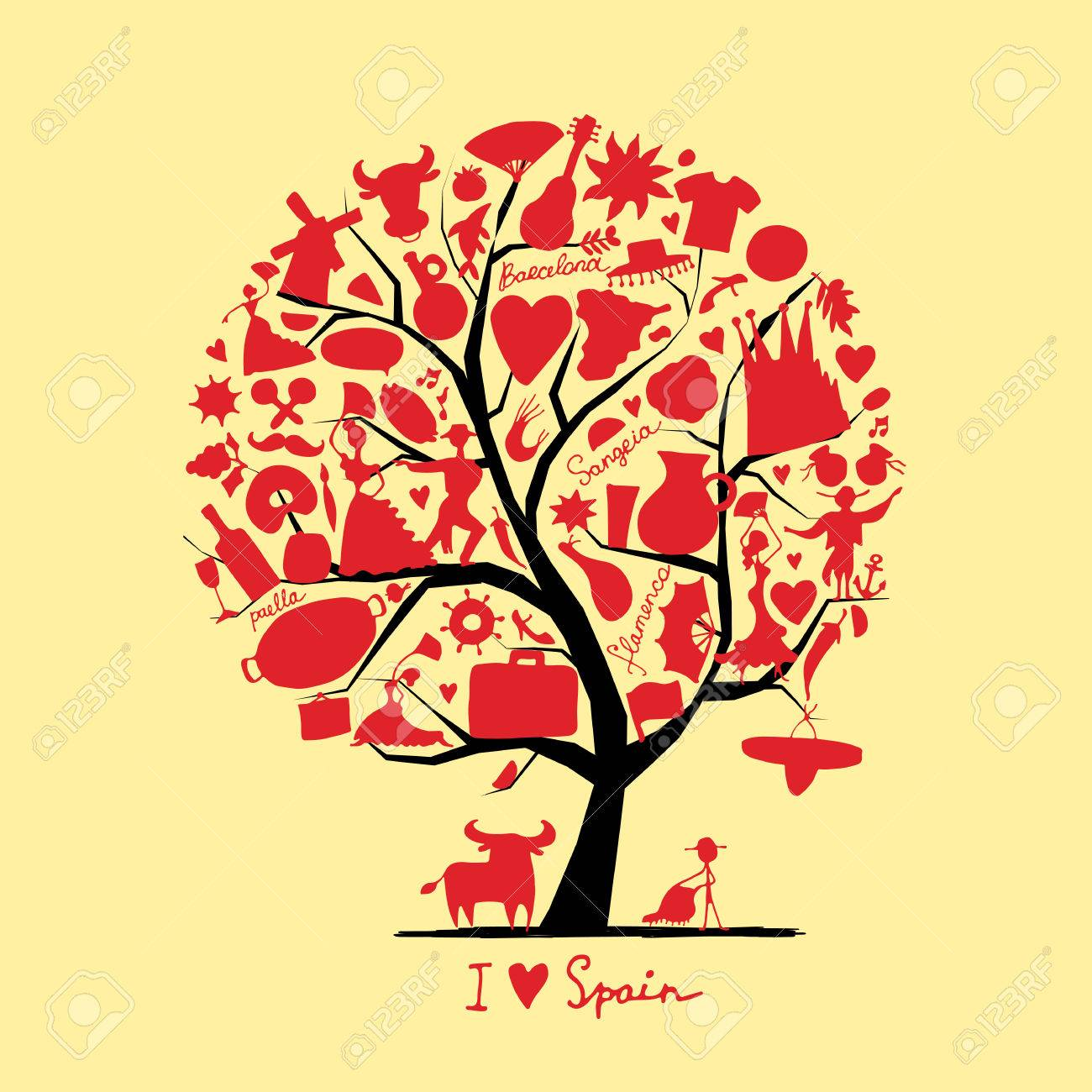 Art tree with spain symbols for your design royalty free cliparts art tree with spain symbols for your design stock vector 73937318 buycottarizona Images