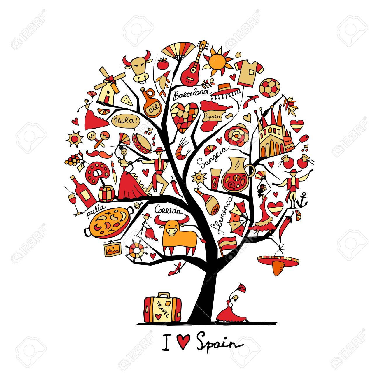 Art tree with spain symbols for your design royalty free cliparts art tree with spain symbols for your design stock vector 74338641 buycottarizona Images