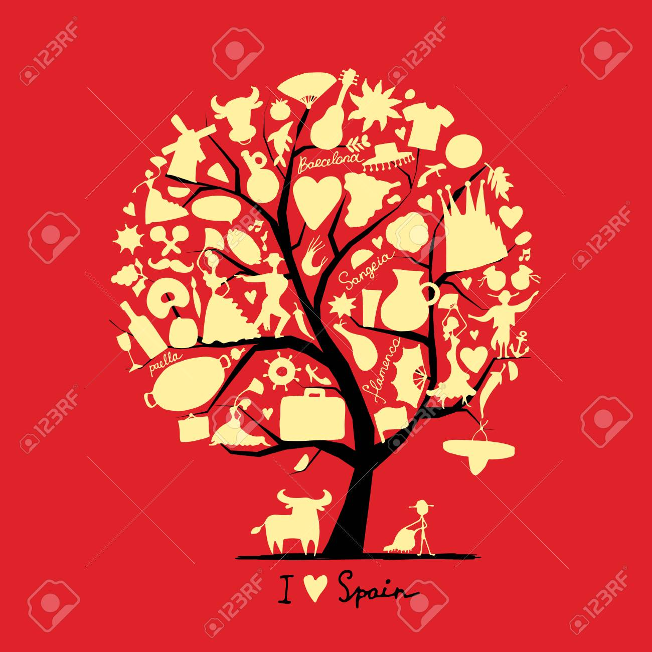Art tree with spain symbols for your design royalty free cliparts art tree with spain symbols for your design stock vector 73863759 buycottarizona Images