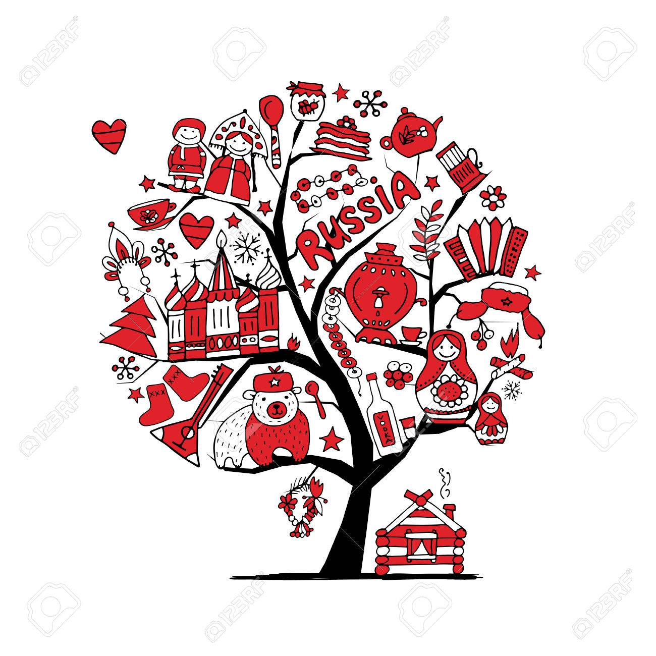 art tree with russian symbols for your design stock vector 73938885