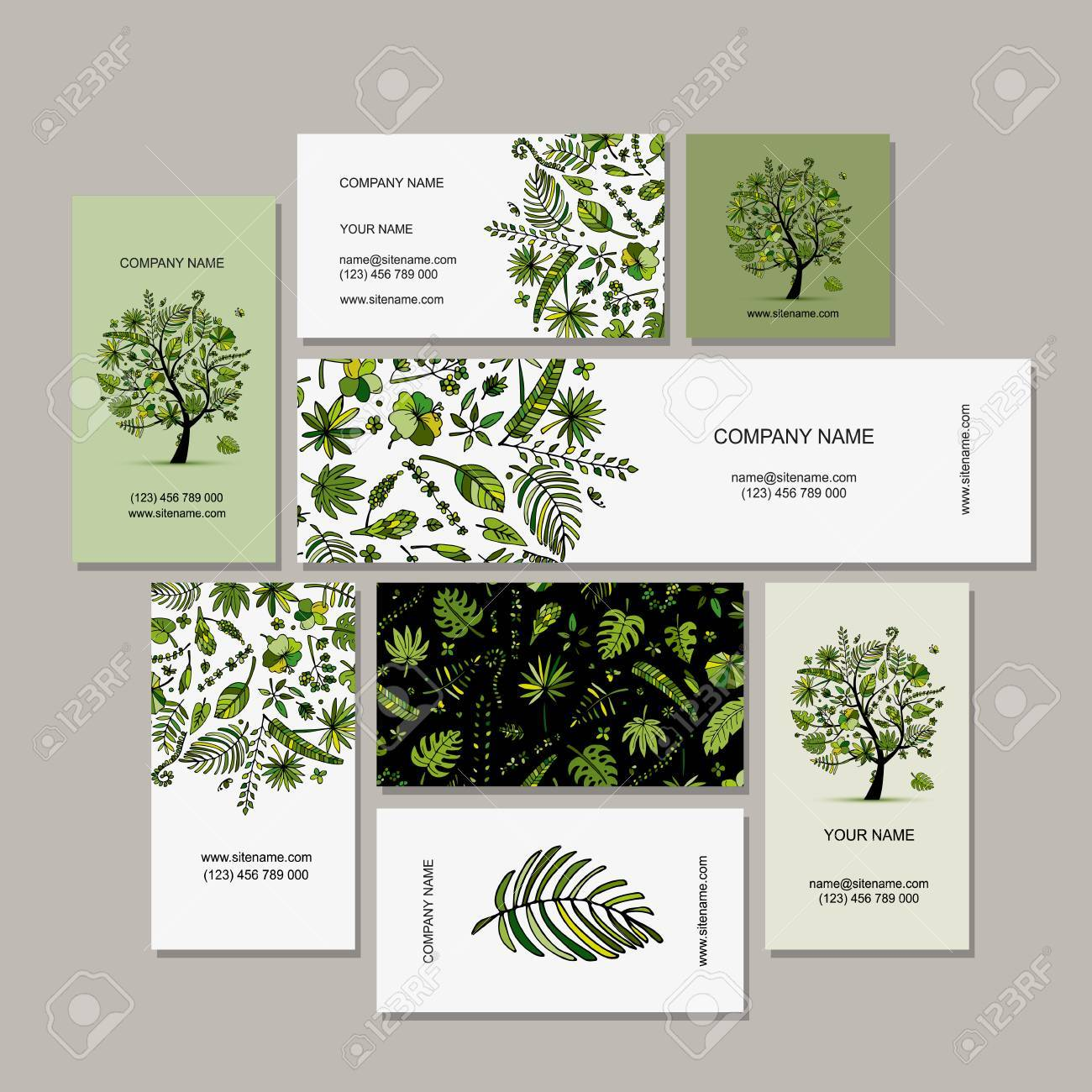 business card collection tropical tree design stock vector 74567432