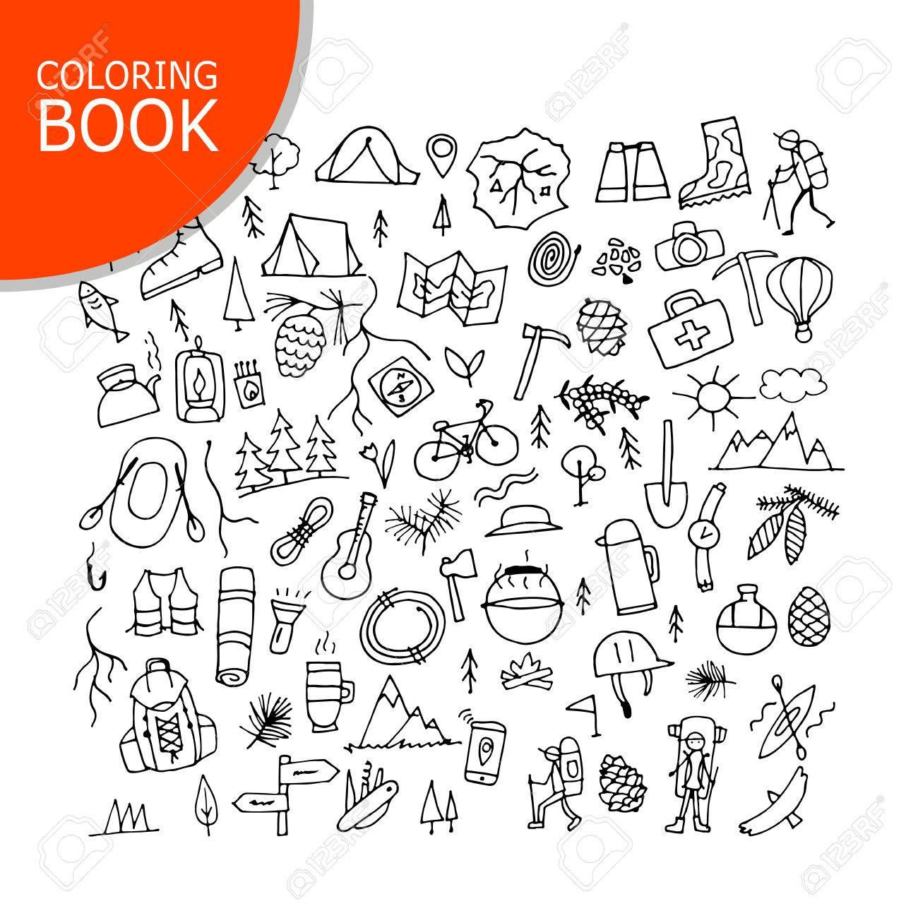 Conjunto De Turismo De Montaña, Diseño De Página Para Colorear ...