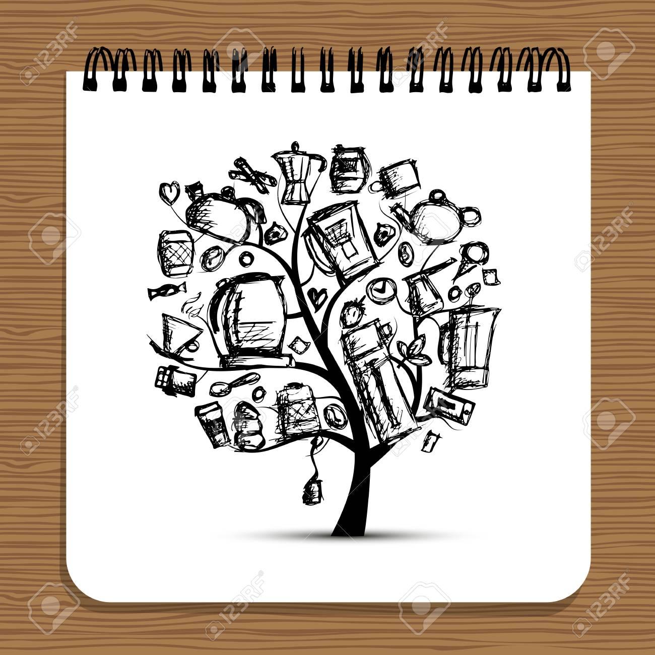Diseño de cuaderno, árbol de utensilios de cocina