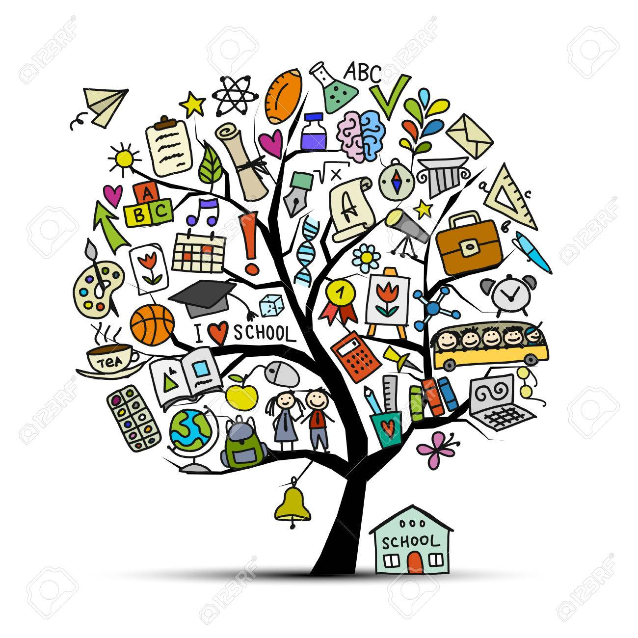 Back to school, art tree for your design Vector illustration - 84180715