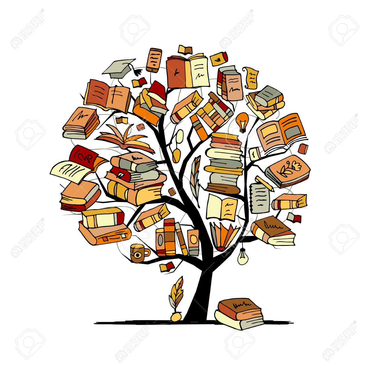 Books tree, sketch for your design. Vector illustration - 84283315