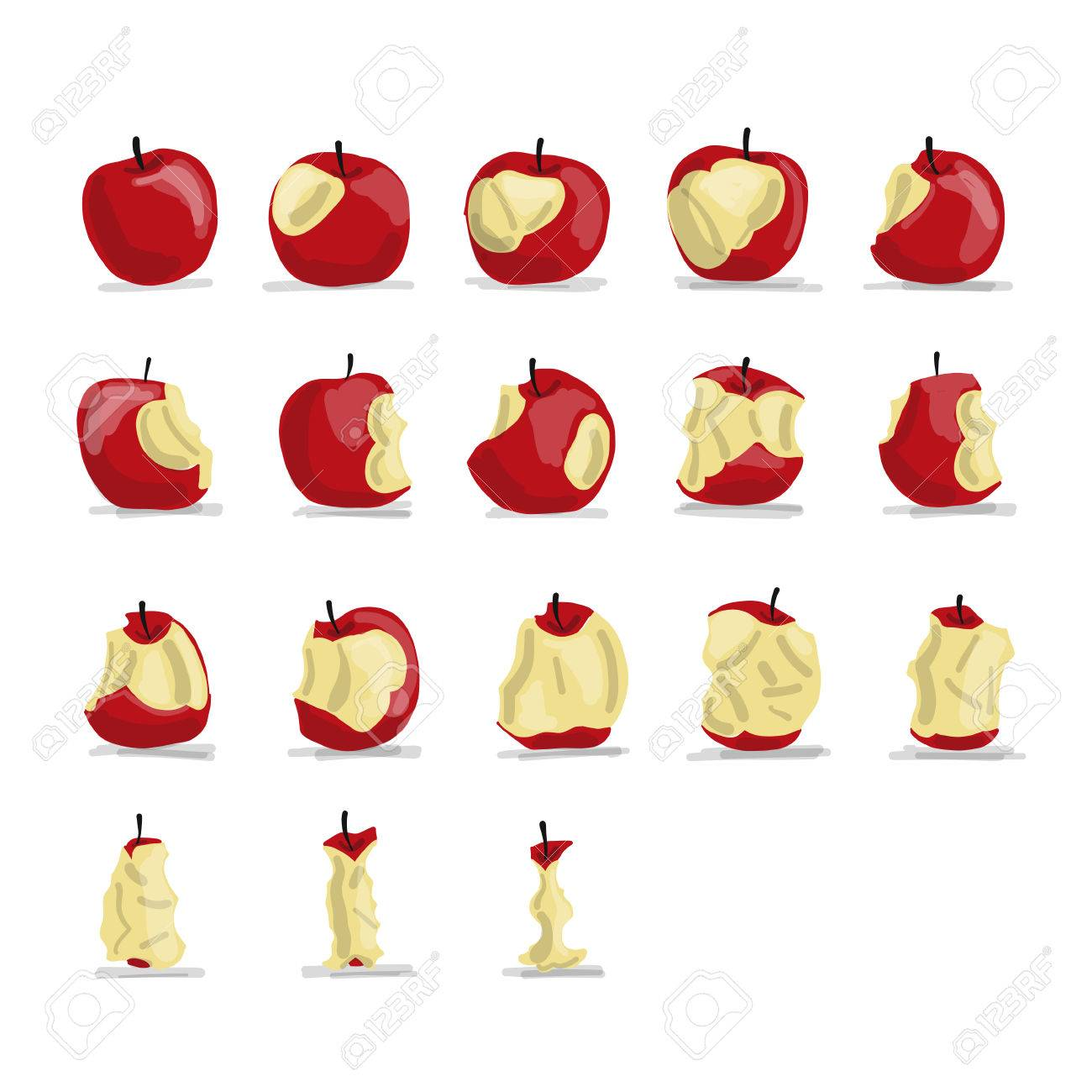 Stages Of Eating Apple Sketch For Your Design
