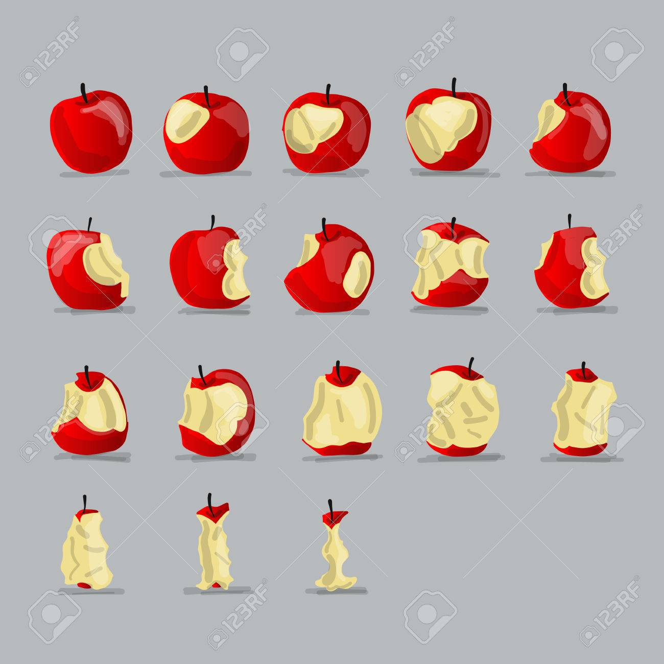 Stages of eating apple, sketch for your design - 84999150