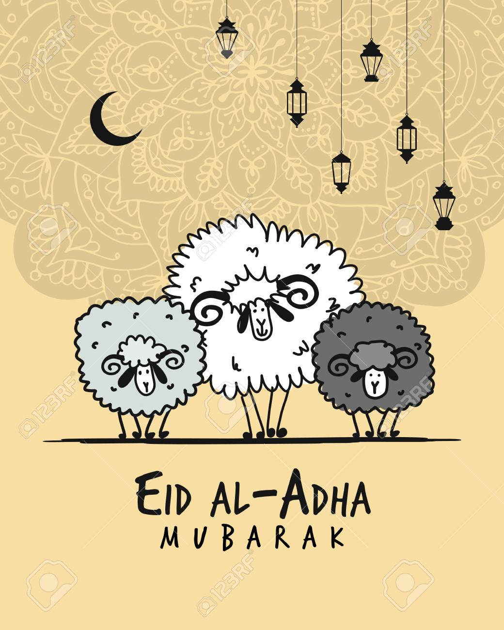 muslim holiday eid al adha card for your design royalty free