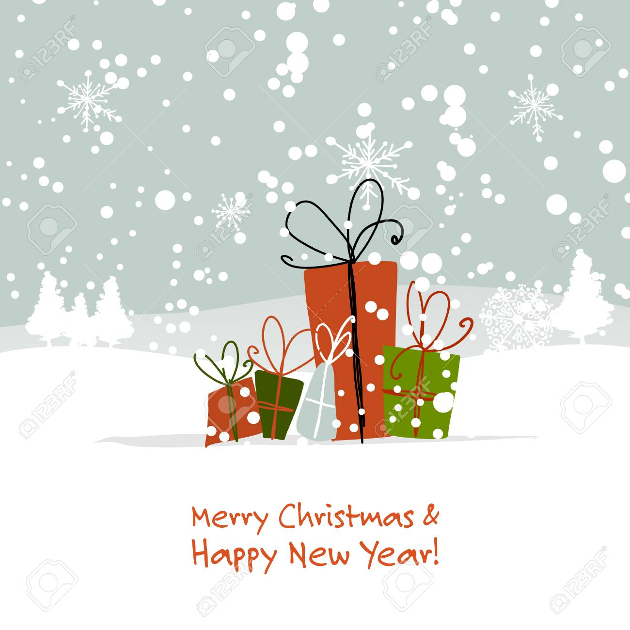 Christmas gifts, greeting card for your design Vector illustration. - 90580833