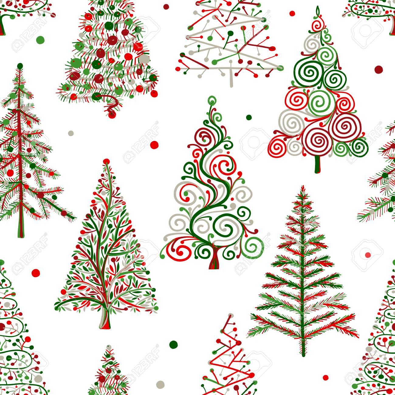 Disegni Di Natale Vettoriali.Alberi Di Natale Modello Senza Soluzione Di Continuita Per Il Vostro Disegno Illustrazione Vettoriale