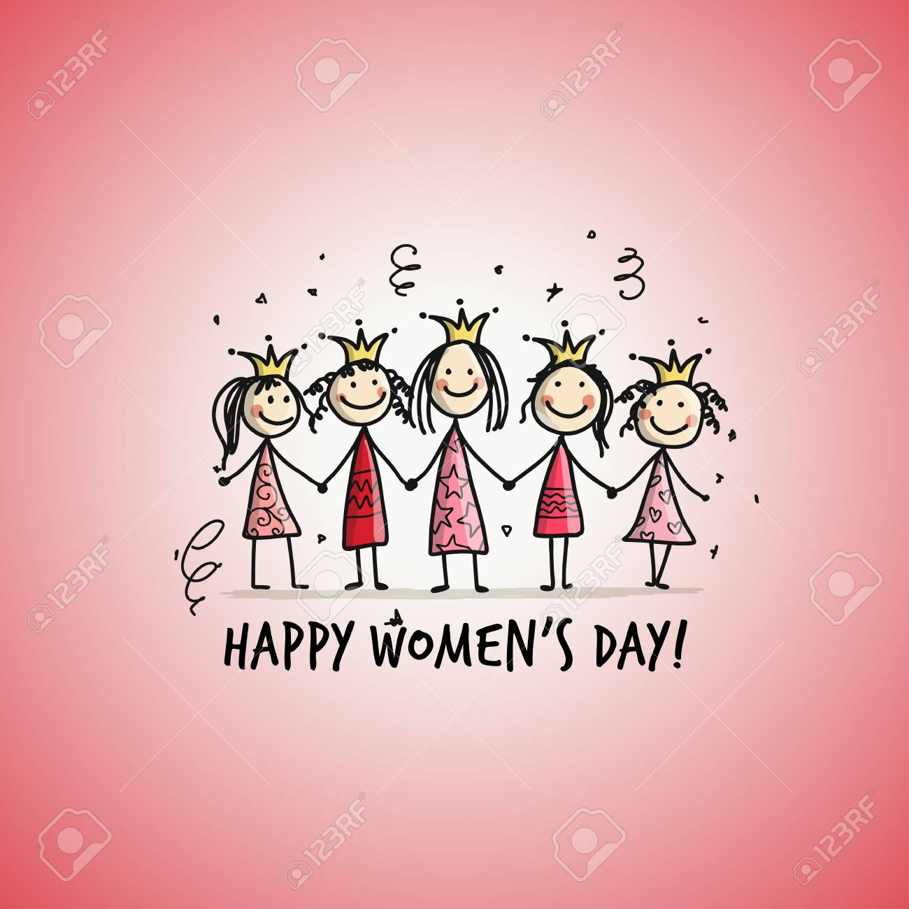 Happy womens day Card with pretty girls for your design - 96844916