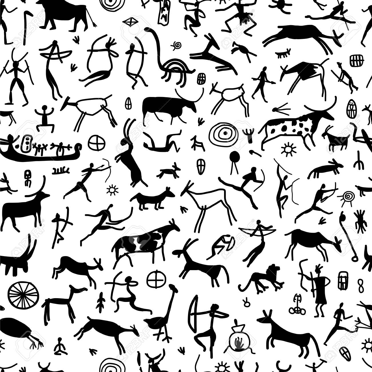 Rock paintings with ethnic people, seamless pattern - 100519755