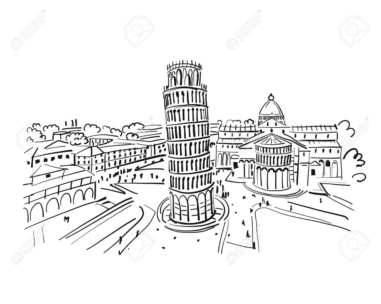 Leaning tower of Pisa, Italy. Sketch for your design - 102046180