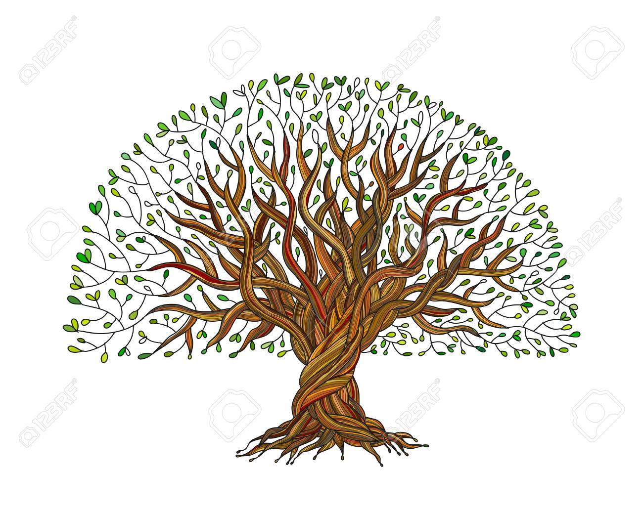 Big tree with roots for your design. Vector illustration - 108061099