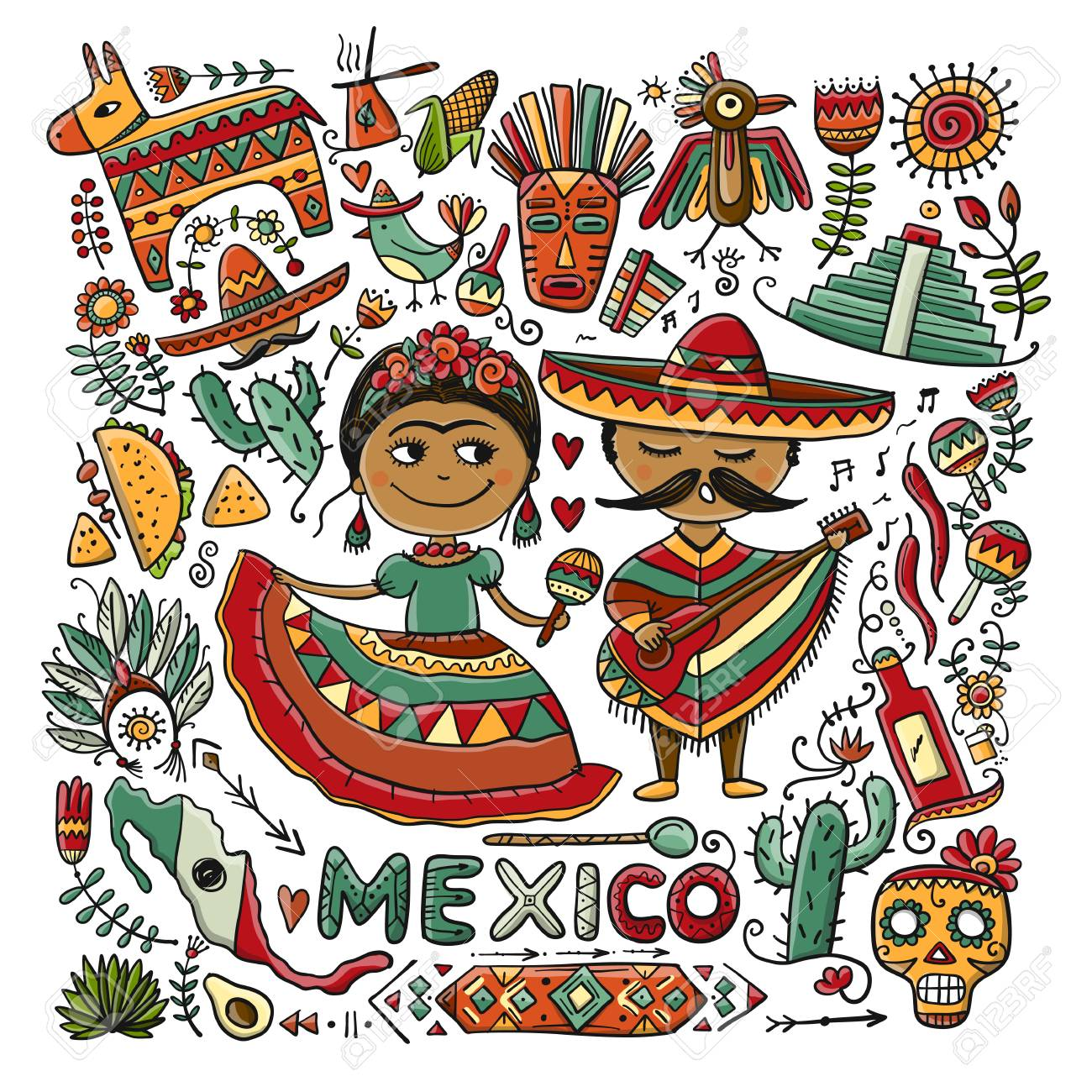 Travel to Mexico. Sketch for your design - 108094231
