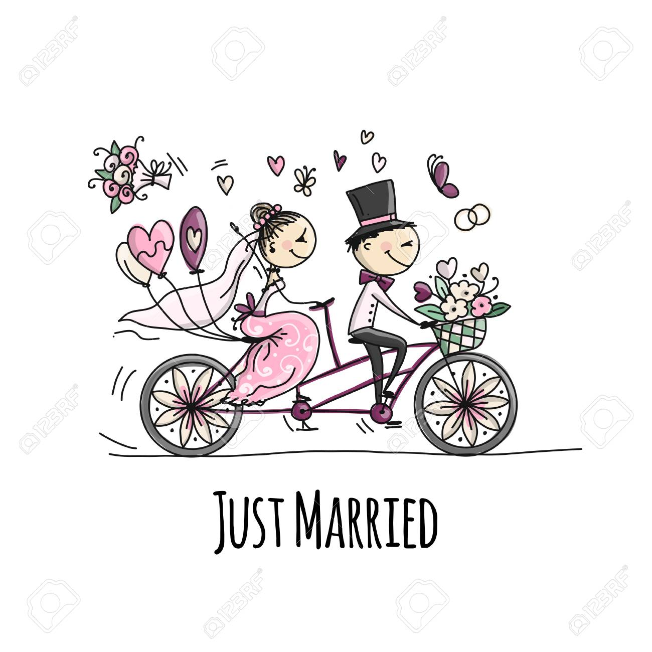 Wedding card design. Bride and groom riding on bicycle - 108223991