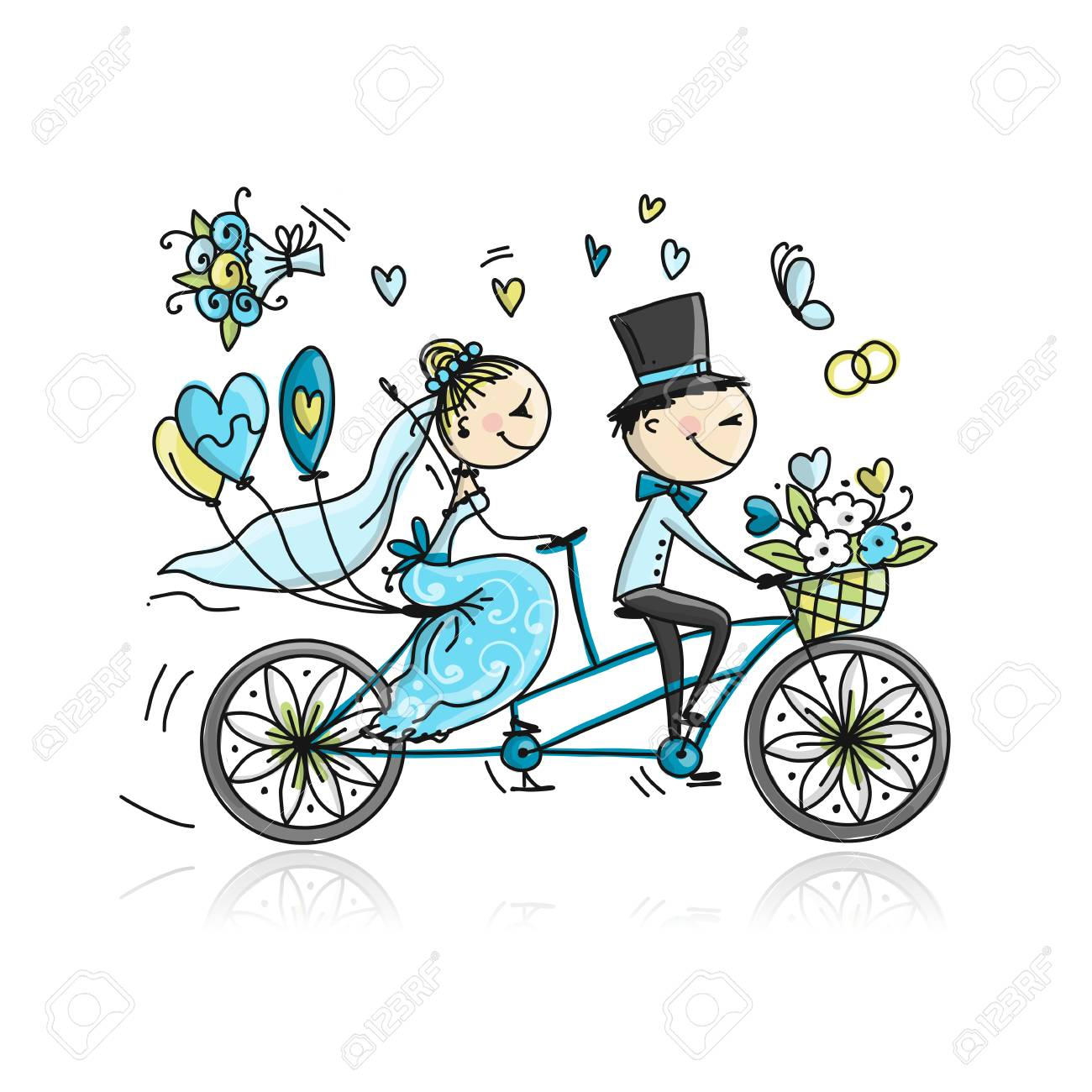 Wedding card design. Bride and groom riding on bicycle. Vector illustration - 110076878