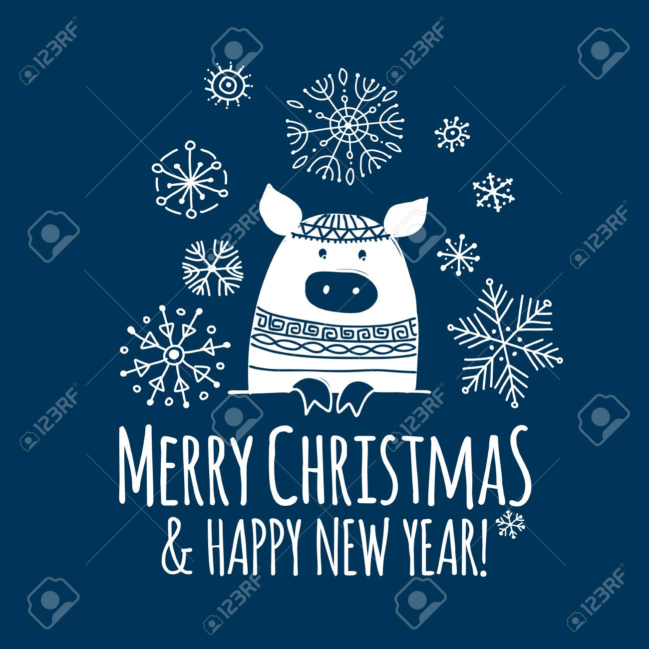 Christmas Card With Funny Pig Symbol Of 2019 Year For Your Design