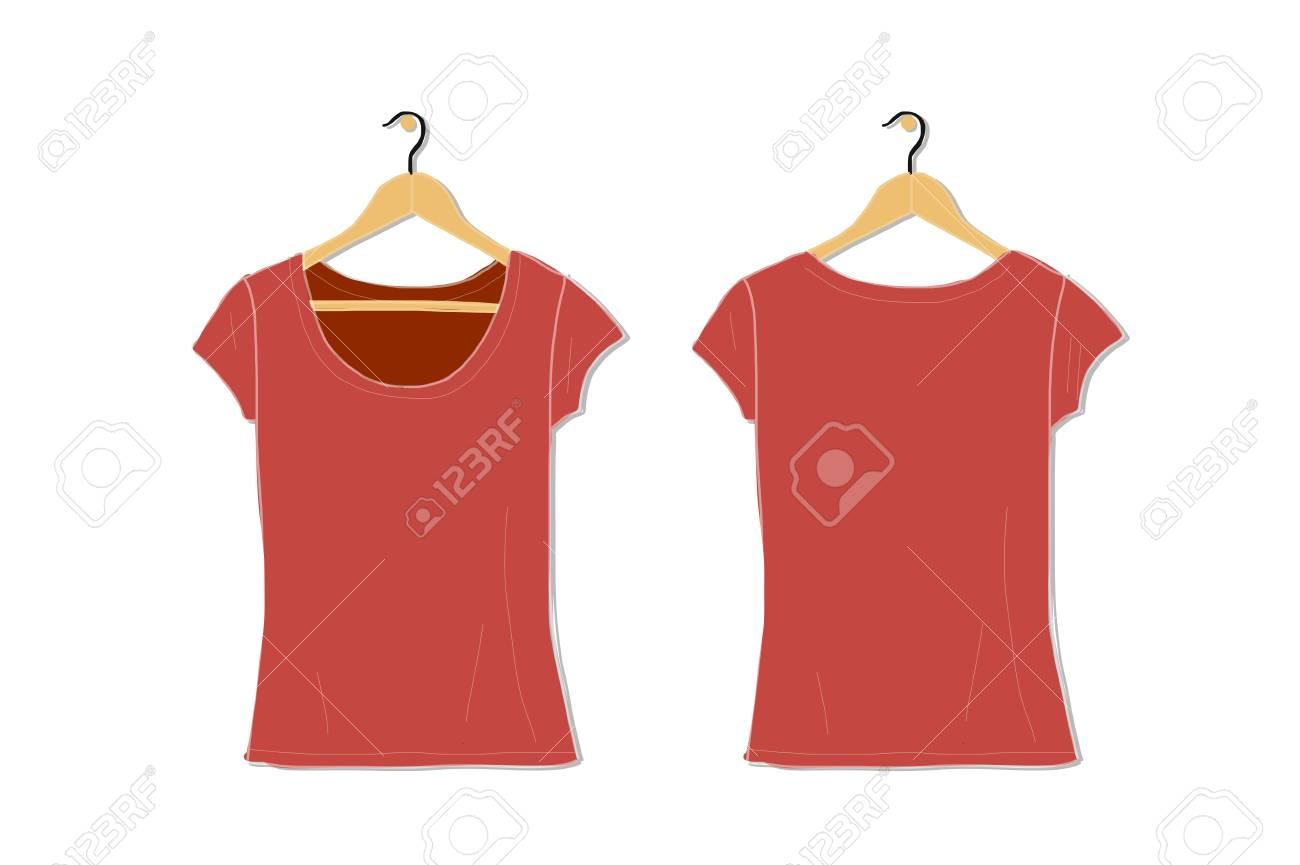 Female Tshirt Mockup White For Your Design Vector Illustration