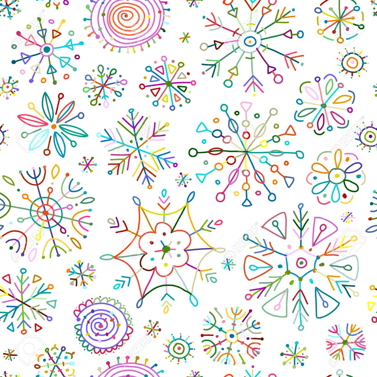 Hand drawn snowflakes, seamless pattern for your design. Vector illustration - 128174907