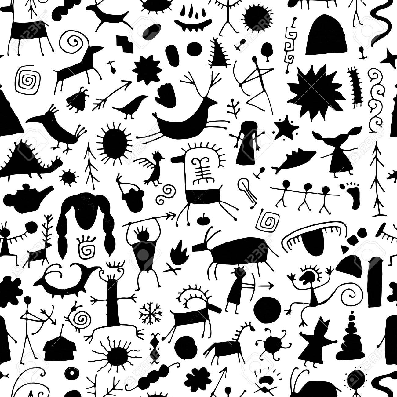 Rock paintings background, seamless pattern for your design - 120866338