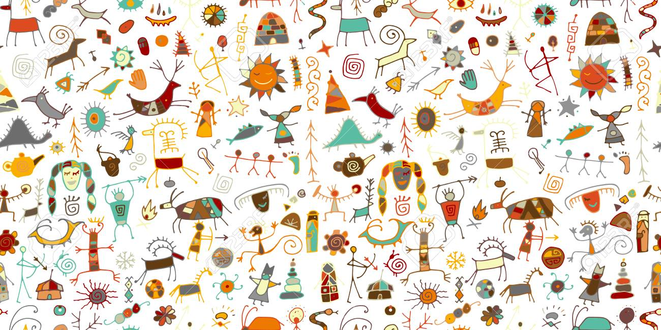 Rock paintings background, seamless pattern for your design. Vector illustration - 122897868
