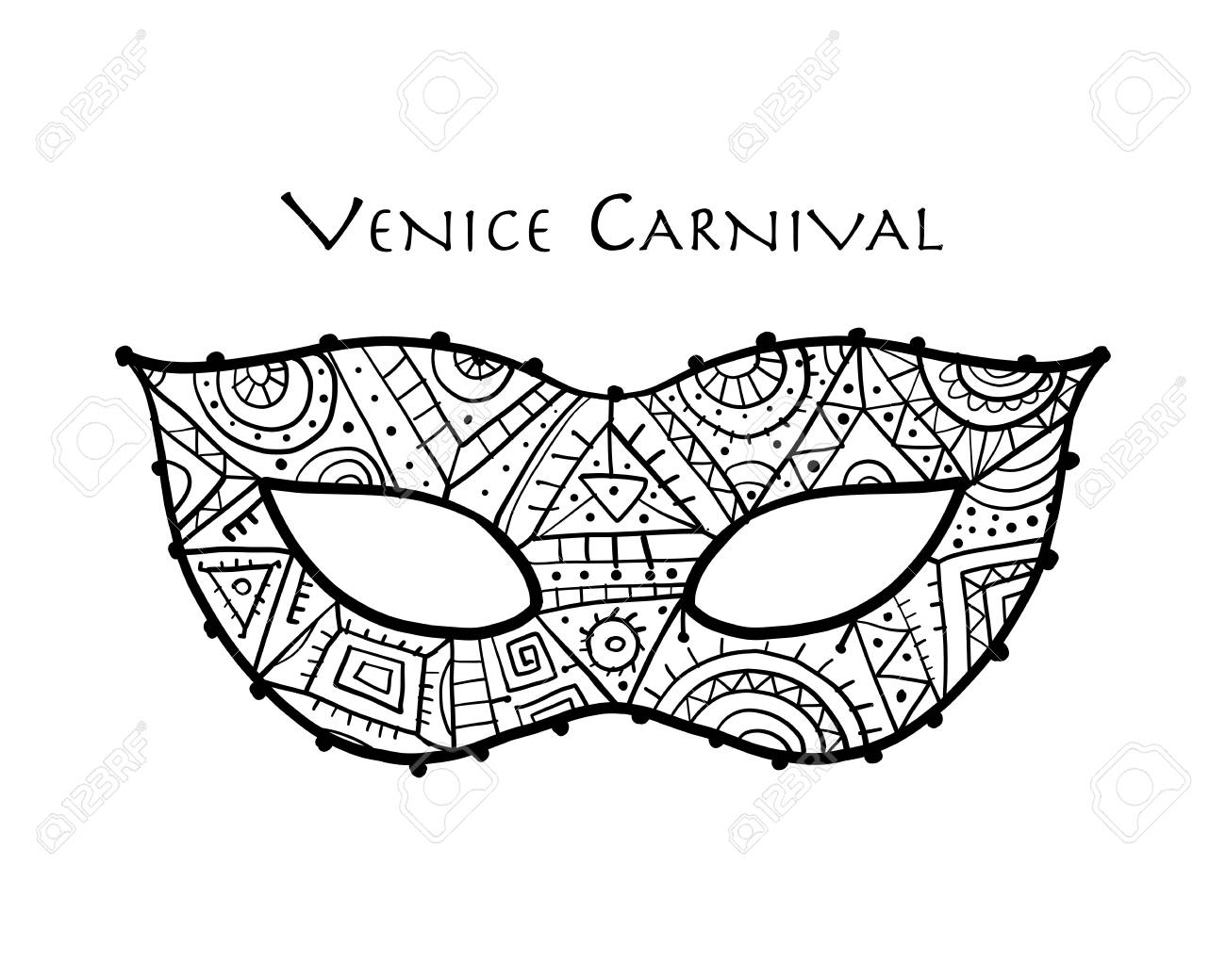 Carnival venetian mask ornamental for your design. Vector illustration - 121953849