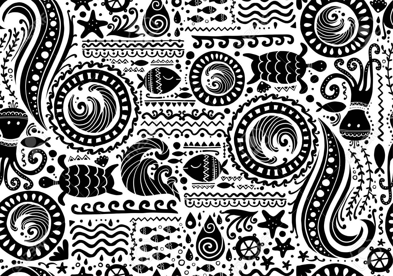 Polynesian style marine background, tribal seamless pattern for your design. Vector illustration - 122551542