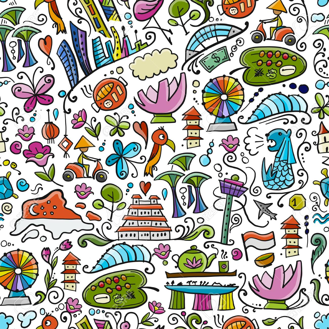 Travel to Singapore. Seamless pattern for your design - 122107676