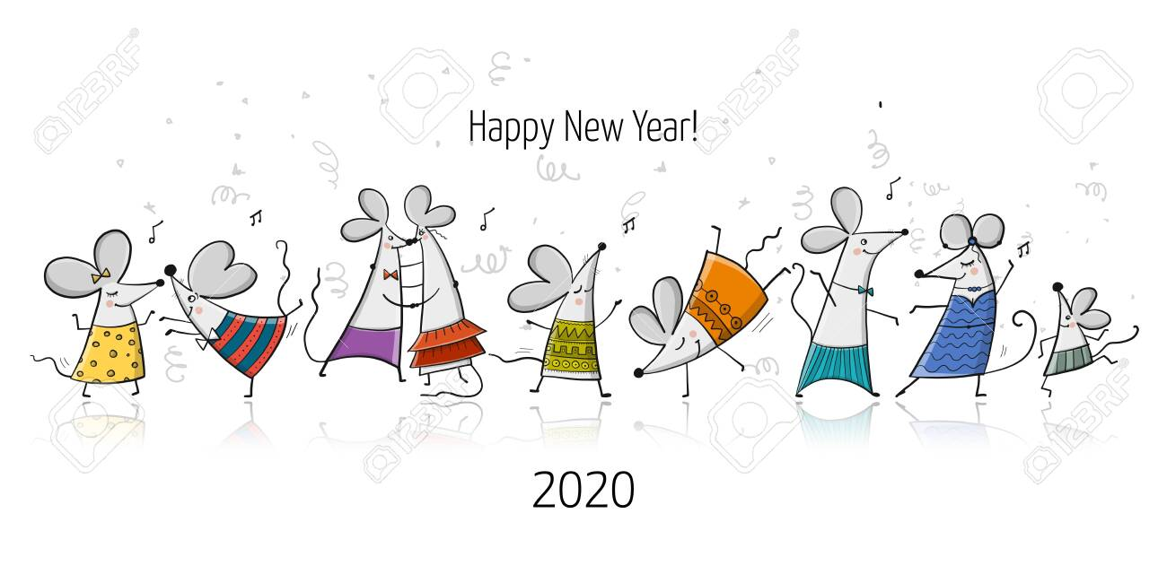 Funny mouses party, symbol of 2020 year. Banner for your design - 130398544