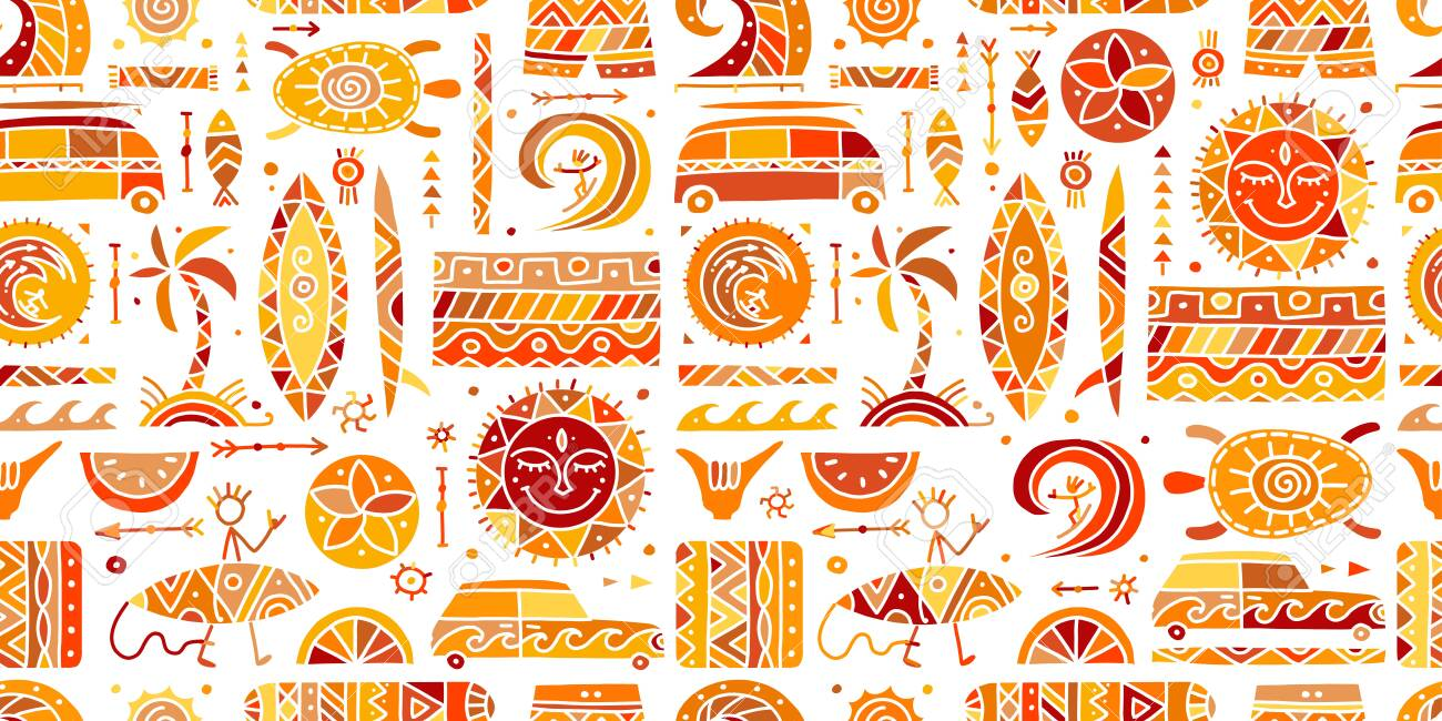 Surfing seamless pattern. Tribal elements for your design - 130398606