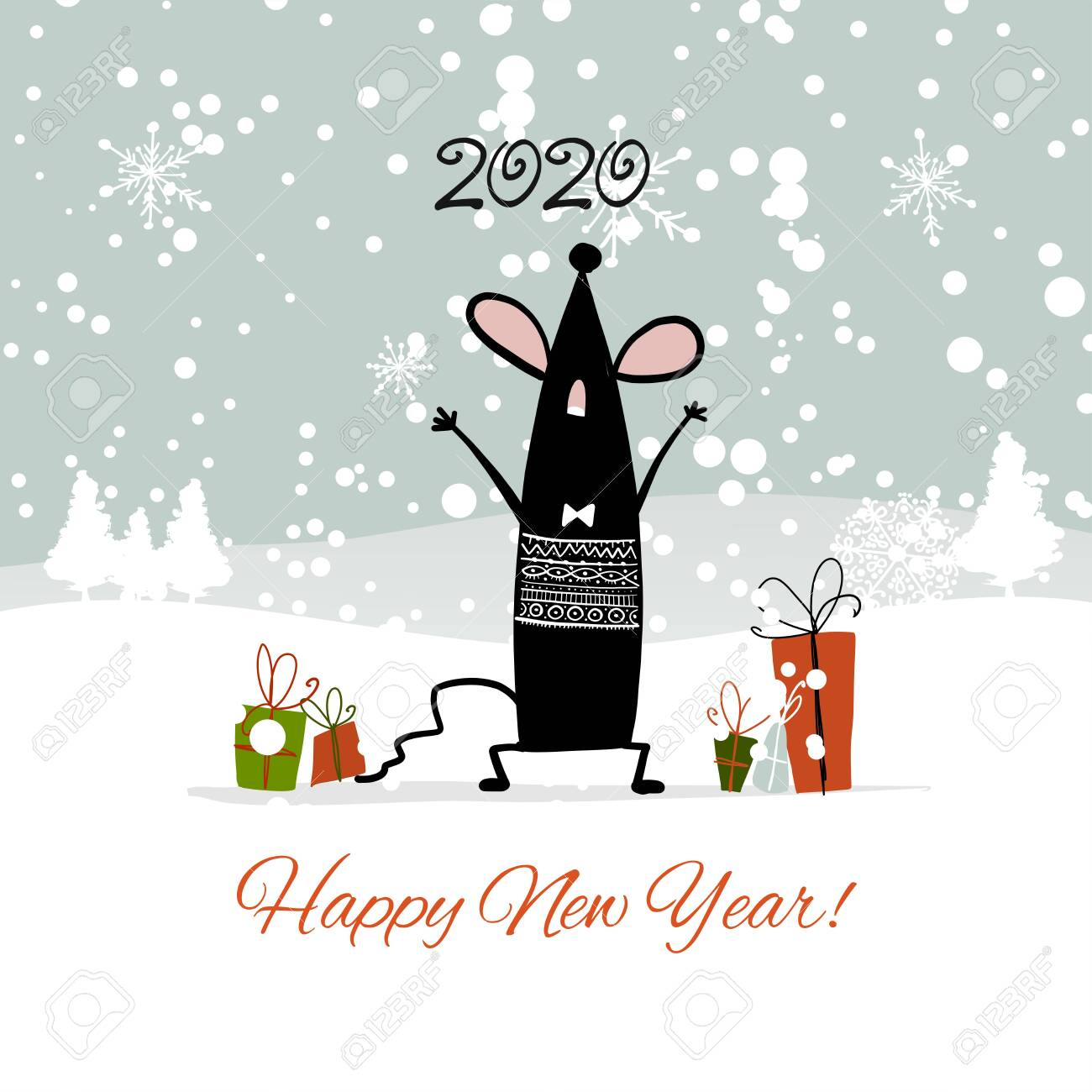 Unique Christmas Cards 2020 Christmas Card With Funny Mouse In Winter Forest, Symbol Of 2020