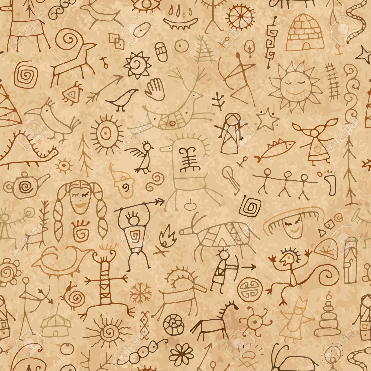 Rock paintings background, seamless pattern for your design. Vector illustration - 134833951