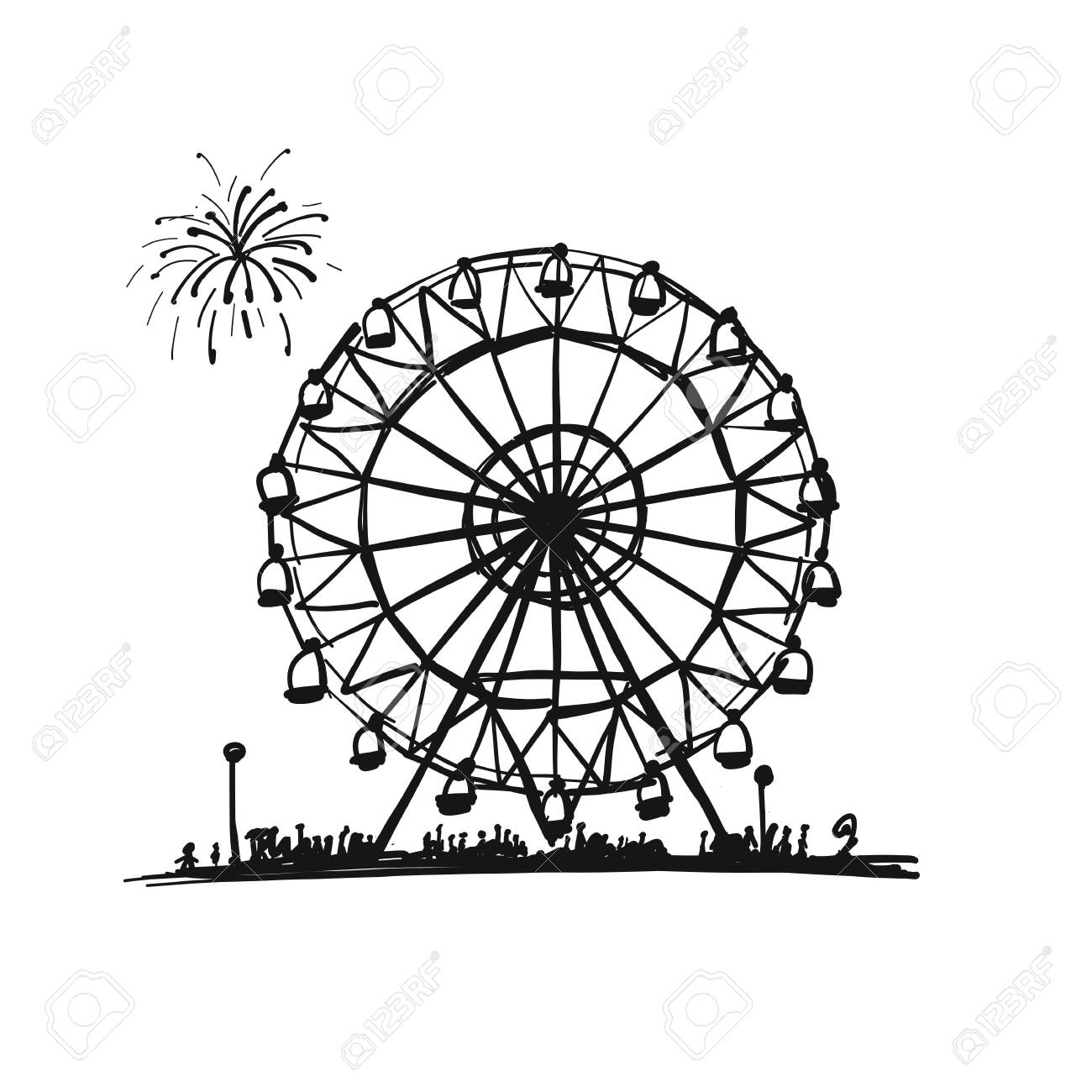 Ferris Wheel Sketch For Your Design Royalty Free Cliparts Vectors And Stock Illustration Image 136722328