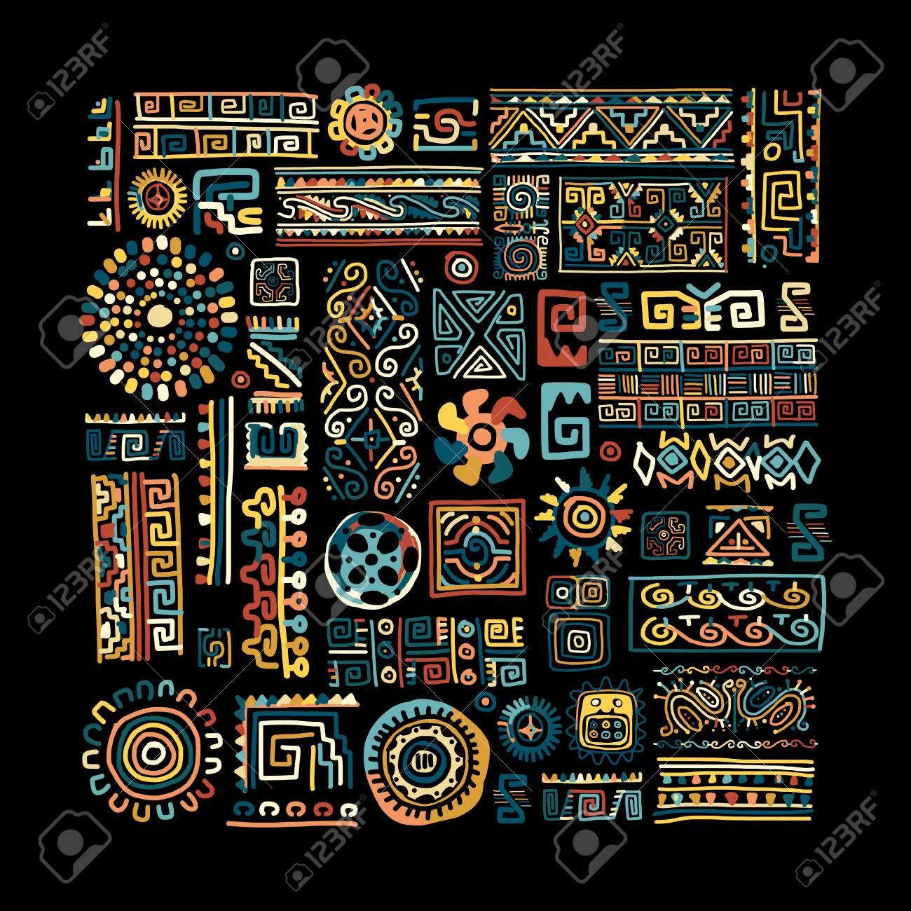 Ethnic handmade ornament for your design - 138636695