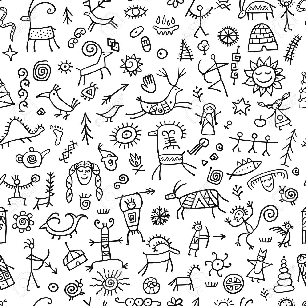 Rock paintings background, seamless pattern for your design - 169416666