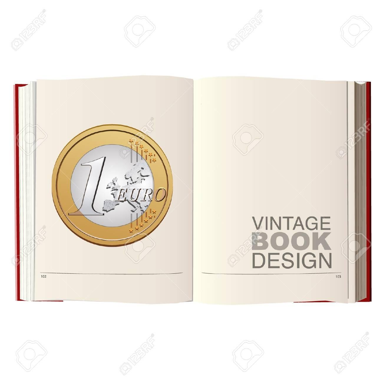 Eine Euro Münze In Einer Leeren Jahrgang Buch Lizenzfrei Nutzbare