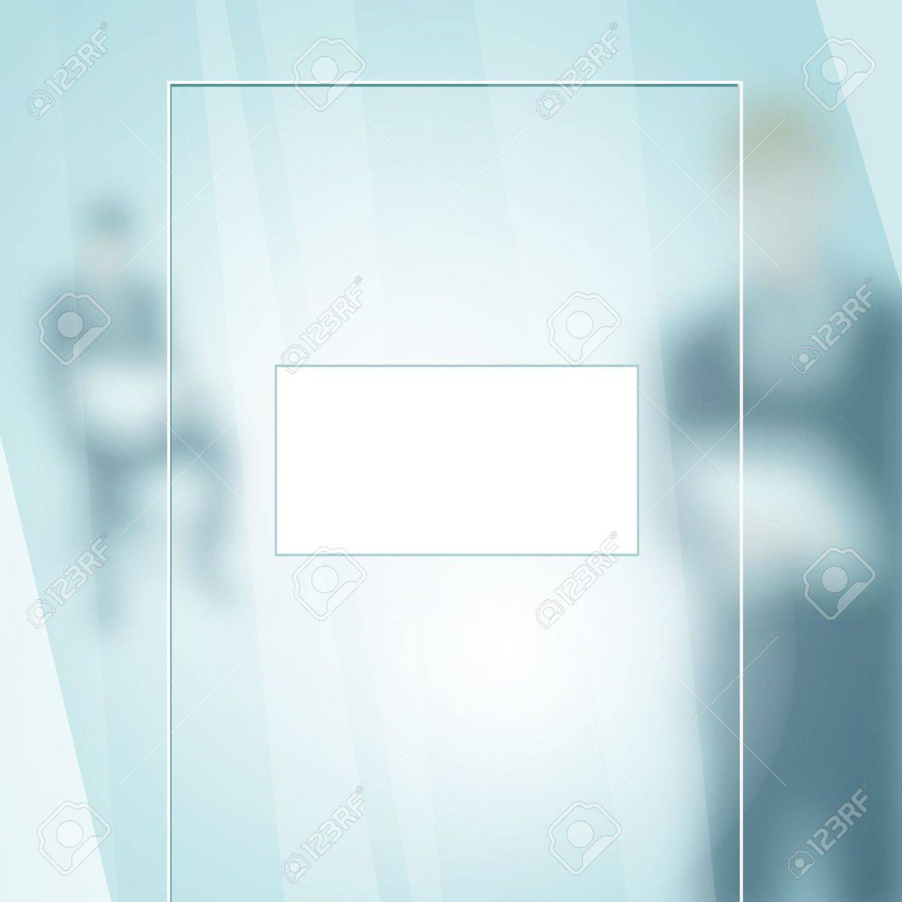 office glass door empty placard on a office glass door with businessman silhouettes