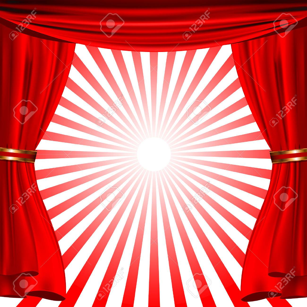 Red Show Curtain With Sunrise Stripes Royalty Free Cliparts, Vectors ...
