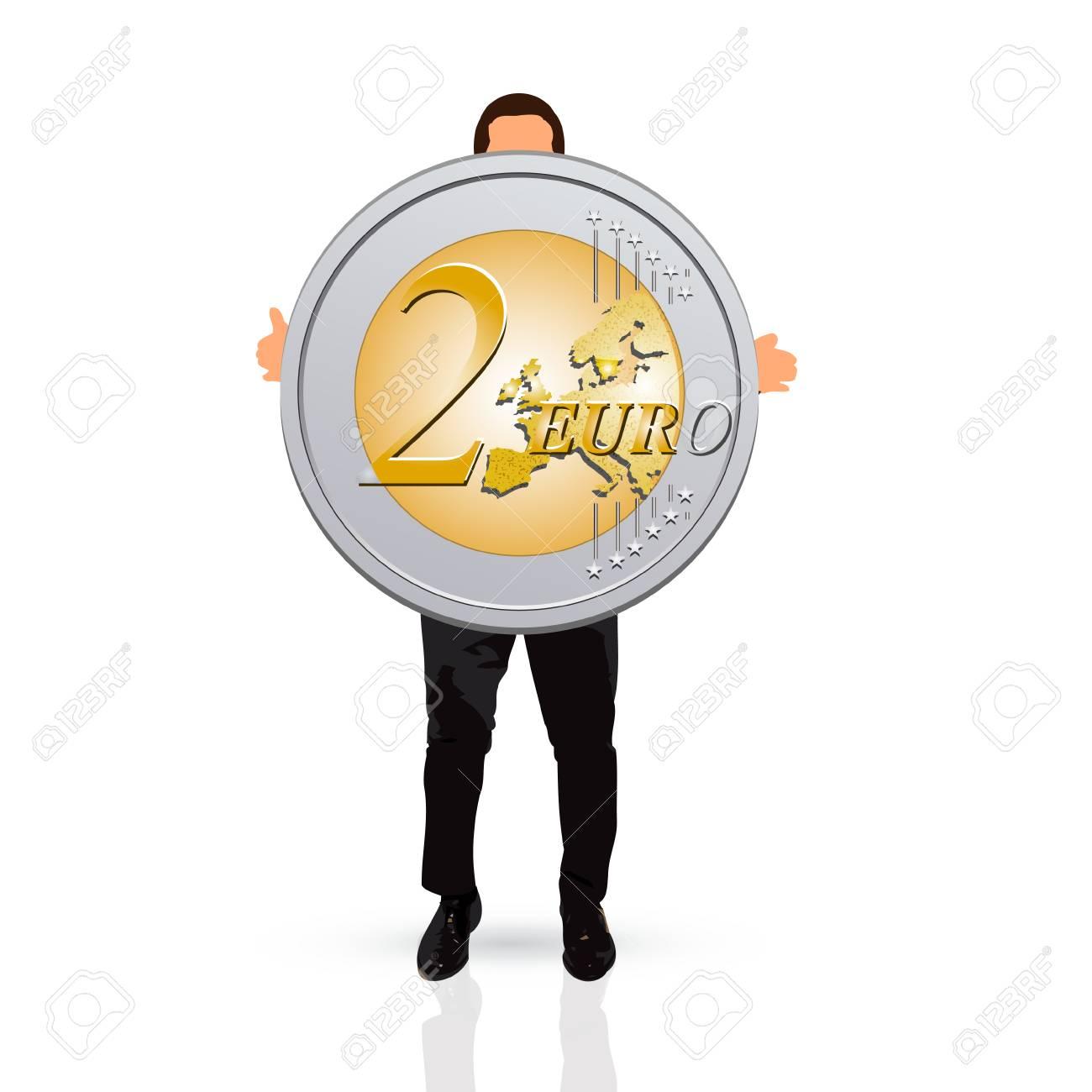 Junger Mann Hält Zwei Euro Münze Lizenzfreie Fotos Bilder Und Stock