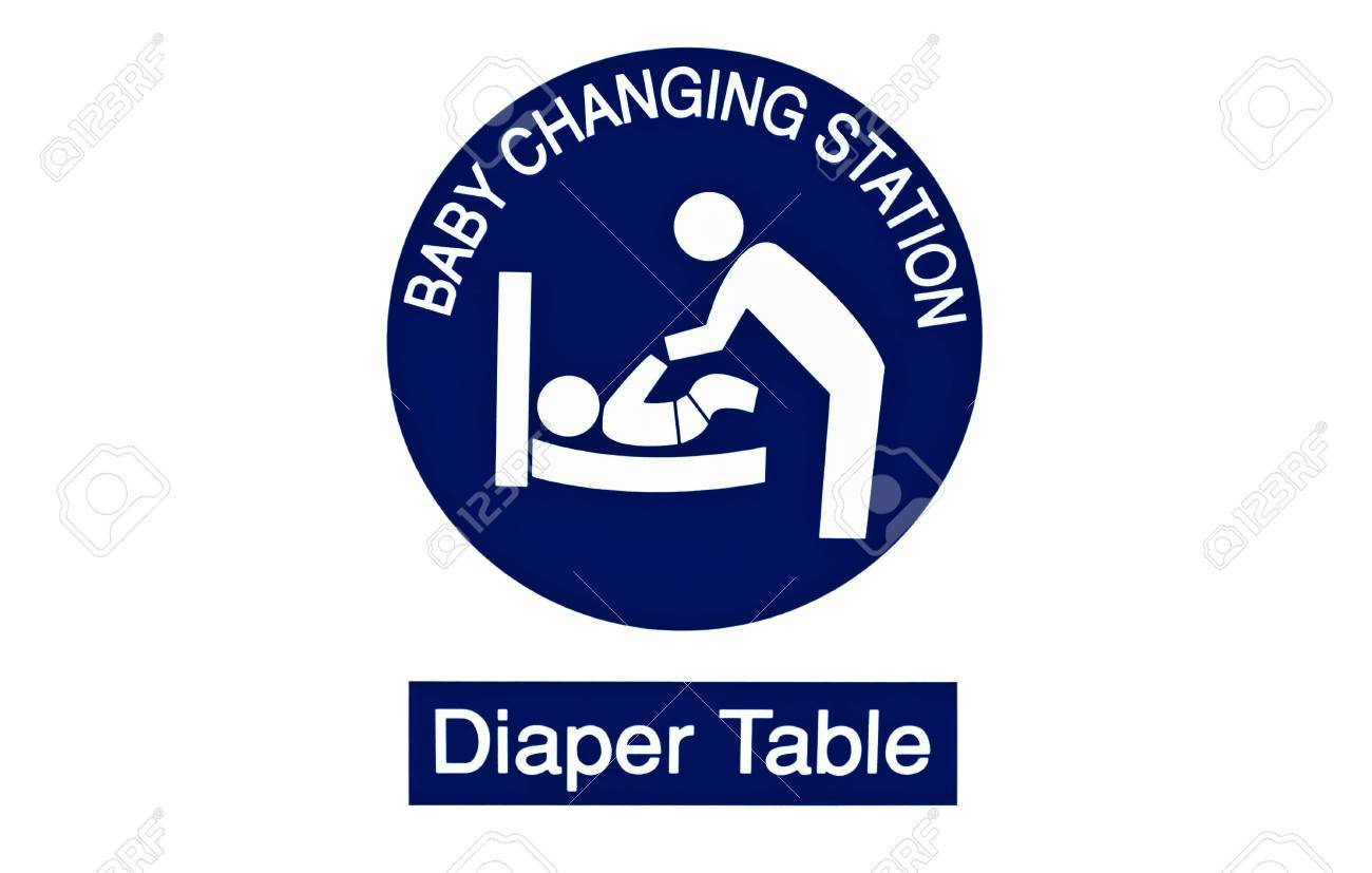 Symbol For Women And Baby Iconbaby Changing Diaper On White Stock