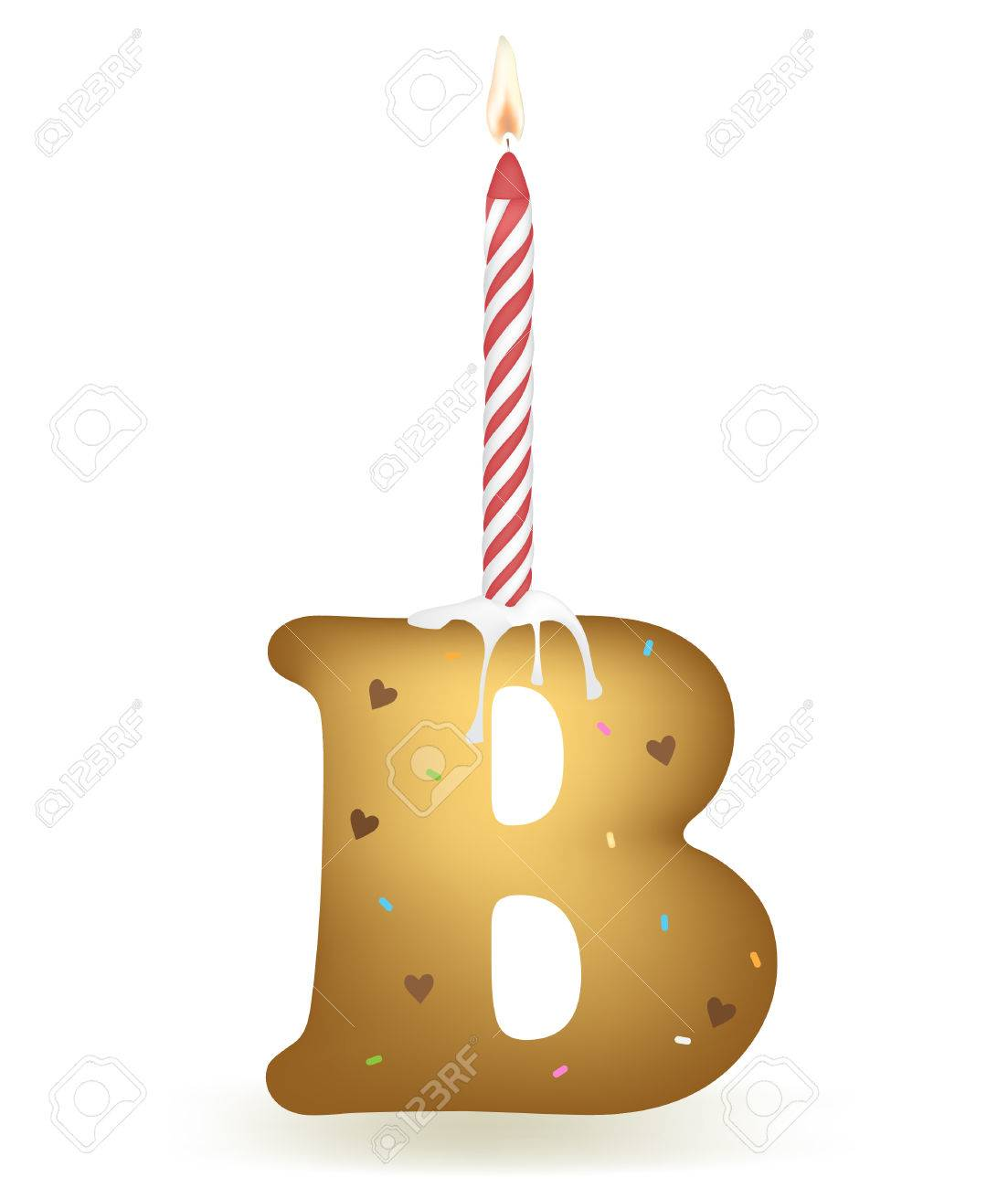 letter b birthday cake stock vector 75816823
