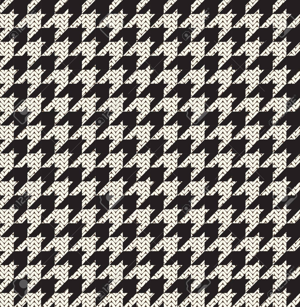 Knitted Houndstooth Seamless Pattern In Black And White. Royalty ...