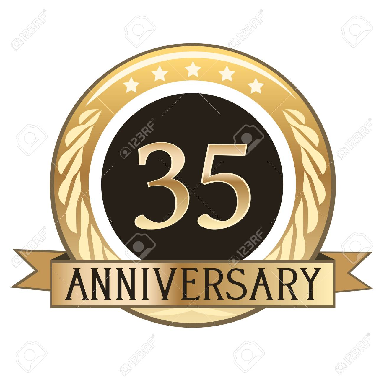 Thirty Five Year Anniversary Gold Badge Royalty Free Cliparts