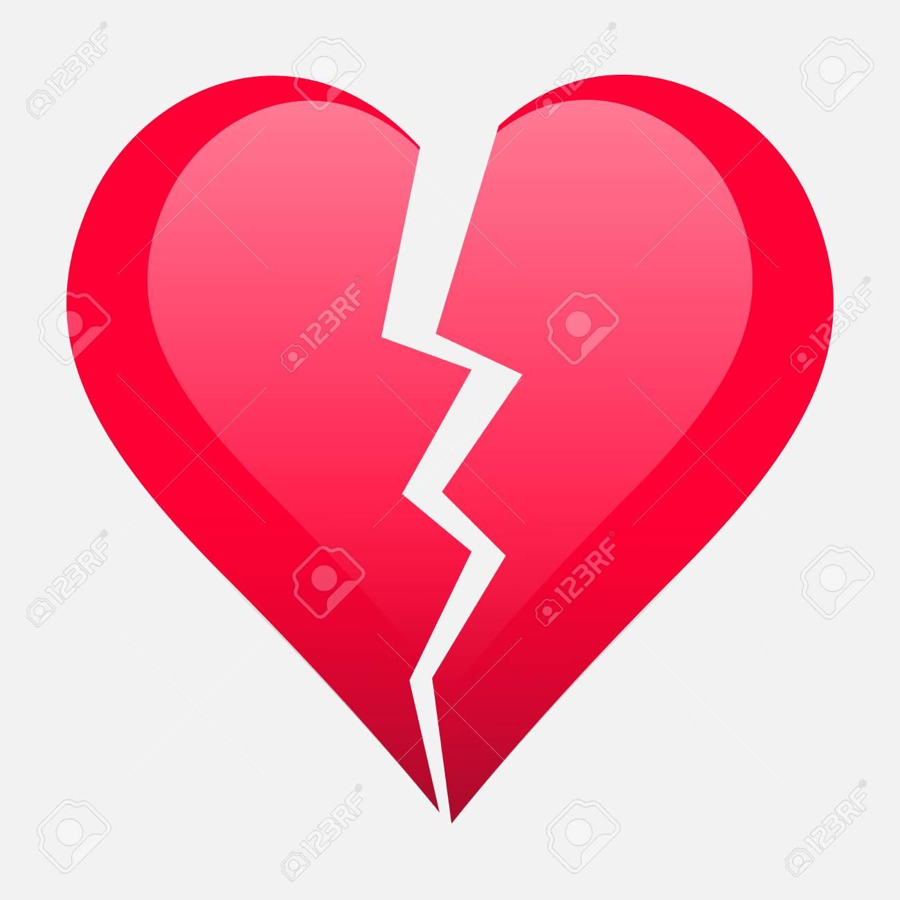 Zwei Teile Gebrochenes Herz. Valentine Herz Simbol. Hochzeit Vektor ...