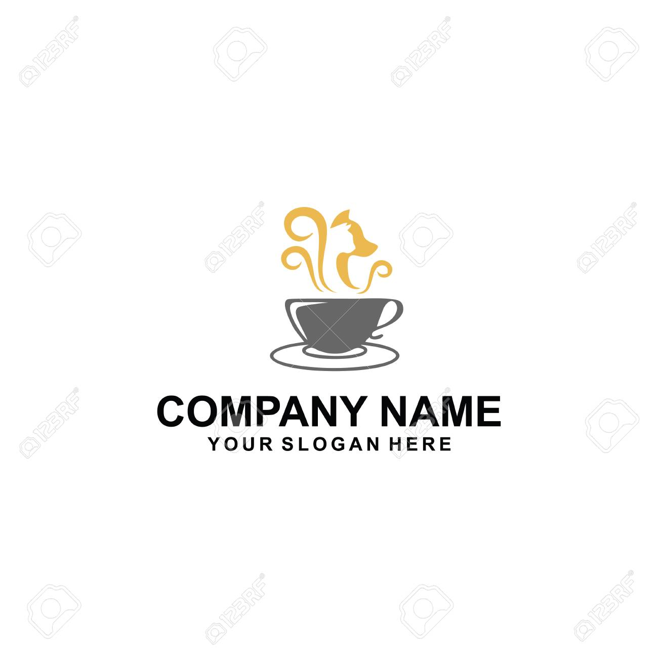 Cafe cat and dog logo design